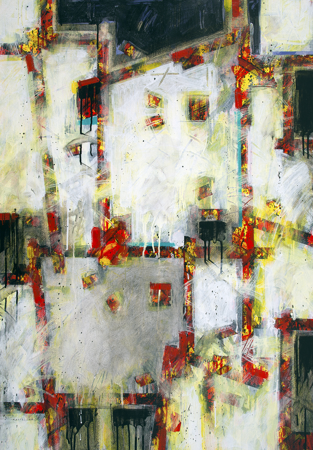 """Construct, Four.  39½"""" x 27½"""" ,  acrylic on fabriano paper, 2014"""