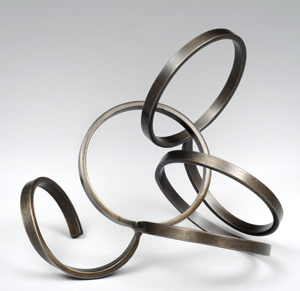 """Balanced Energy  8.5"""" x 9.5"""" x 7.5"""" welded steel, patina, & lacquer, 2014"""