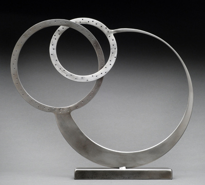 """Optical Illusion  12.5"""" x 13.5"""" x 1.5"""", welded steel, patina, & lacquer, 2013"""