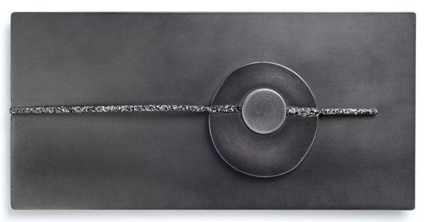"""Horizon Through the Fog  8.75"""" x 18"""", welded steel, patina, lacquer, & wax, 2013"""