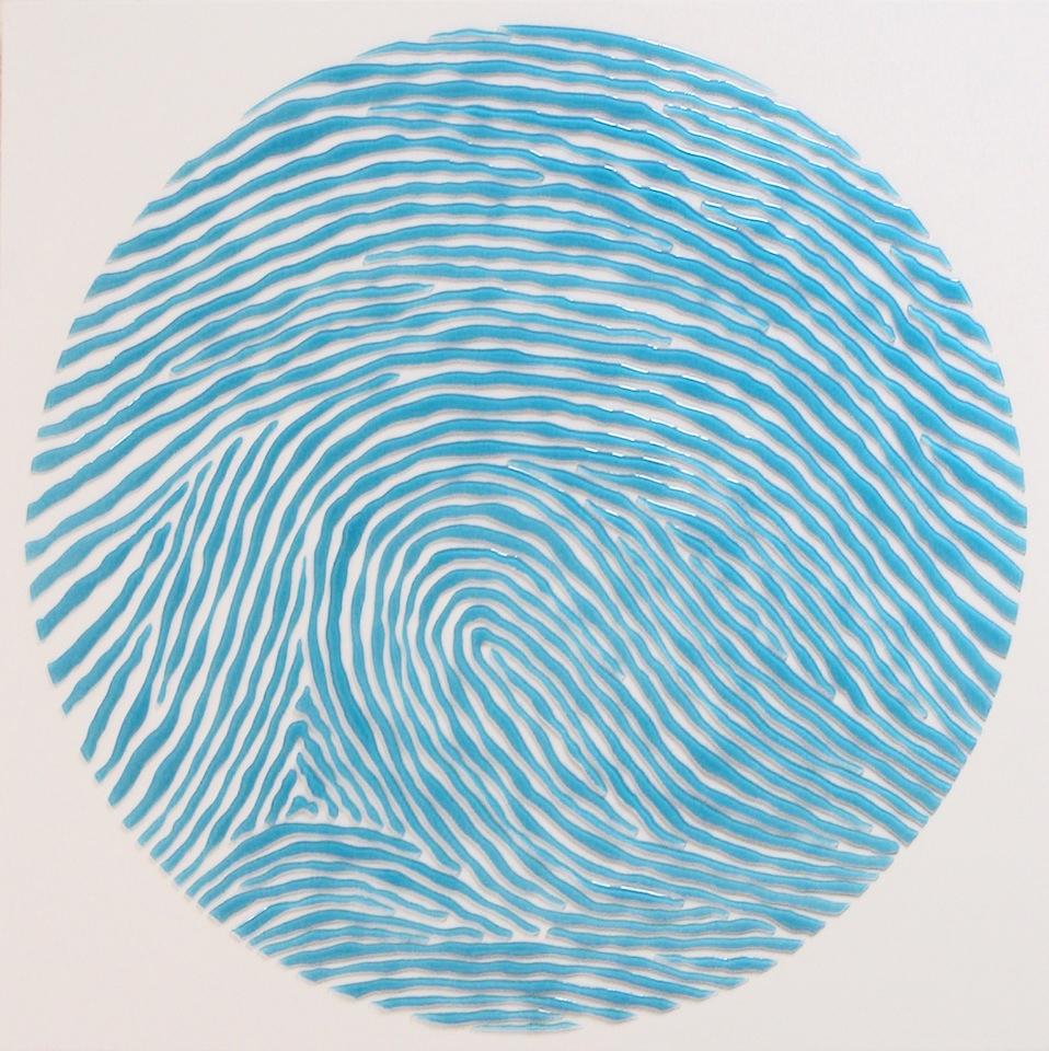 "Legally Blue  24""x 24""x 1"",resin cast enamel paint on wood,2009"