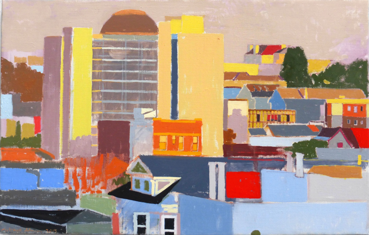 "Alta Plaza Sunset  18"" x 28"", oil on linen, 2015"
