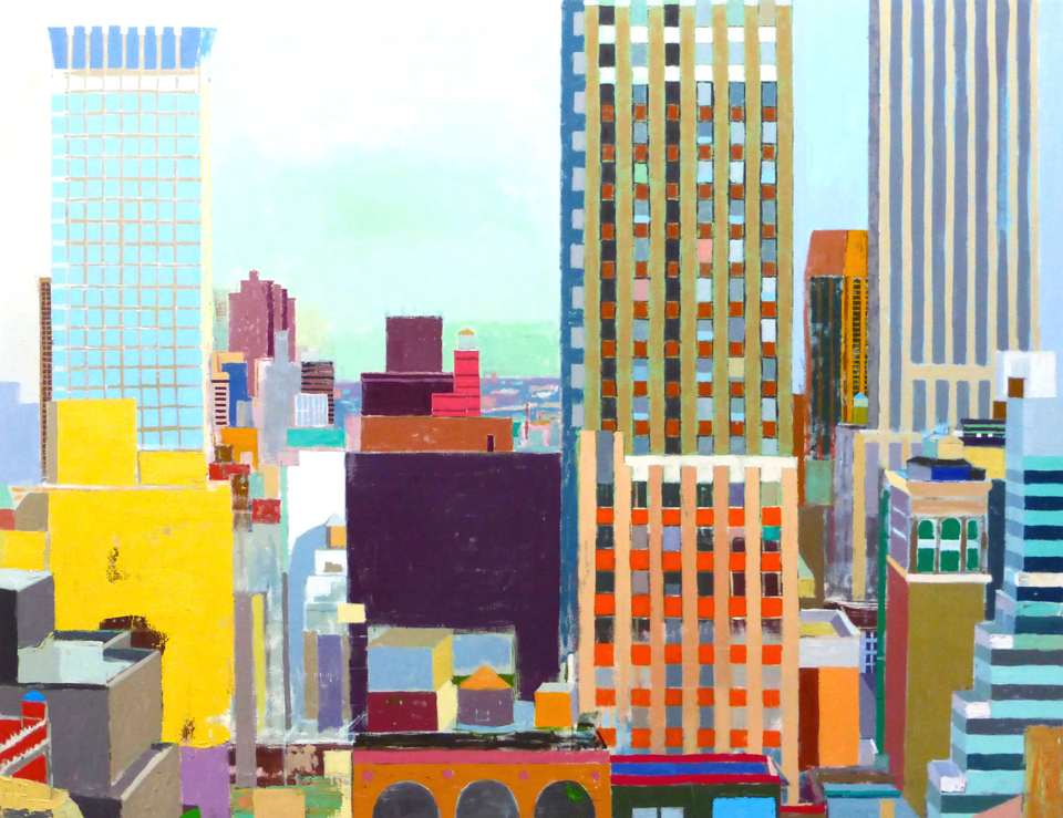 "East From The New Yorker  58"" x 75"", oil on linen, 2015"