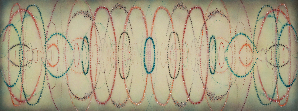 """Now And At The Hour   30"""" x 80"""", acrylic, ink, and silicone on muslin on panel, 2011"""