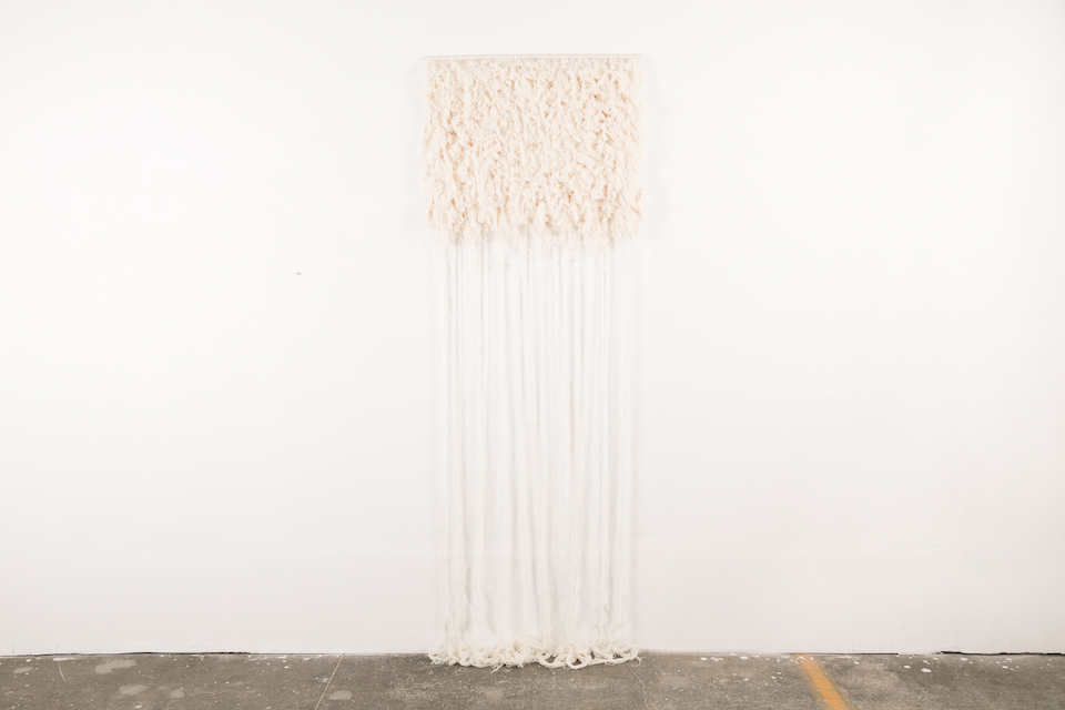 "Torfbærinn  80"" x 32"", Icelandic wool and cotton threads, 2015"