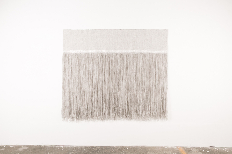 "Juncture of North Atlantic & Arctic Oceans  58"" x 65"", Icelandic wool and silver leaf, 2015"