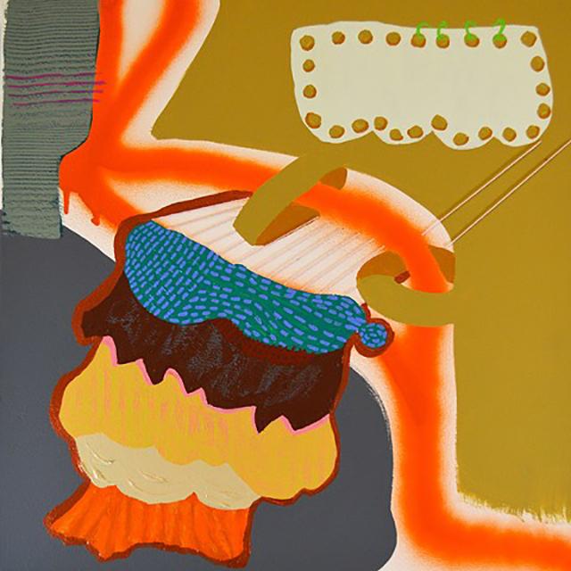 """Untitled  20"""" x 20"""", acrylic,spray paint, and thread on canvas, 2014"""