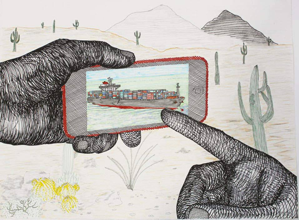 "Container Ship in the Desert  22"" x 30"", ink and colored pencil on paper, 2015"