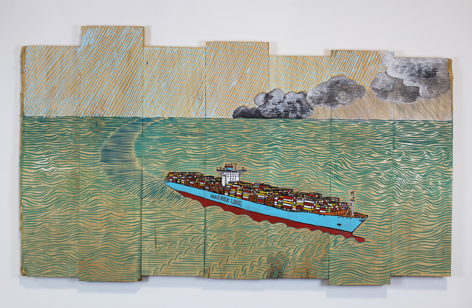 "Container Ship Underway  38"" x 65"" x 2"", mixed media on wood, 2015"