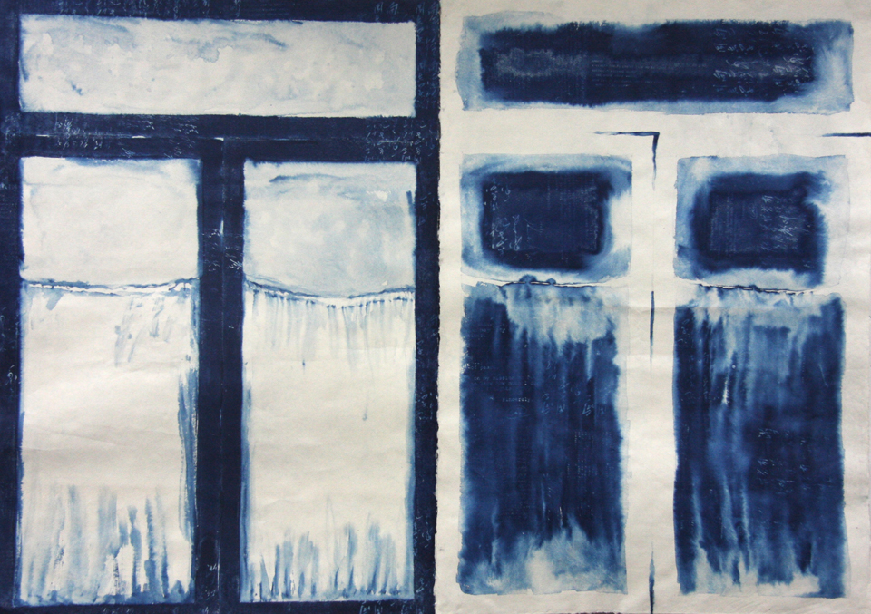"Where Mao Shook Nixon's Hand  56"" x 78"", cyanotype painting on mulberry/bamboo paper, 2015"