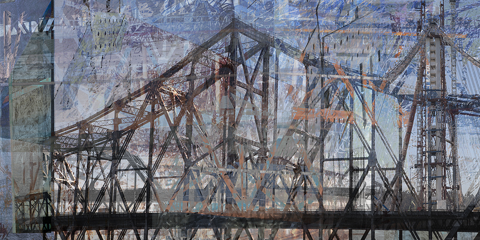 "New Bridge Old Bridge  30"" x 60"", metal print (dye sublimation on aluminum) / 20"" x 40"" archival print on rag both sizes edition of 10, 2015"