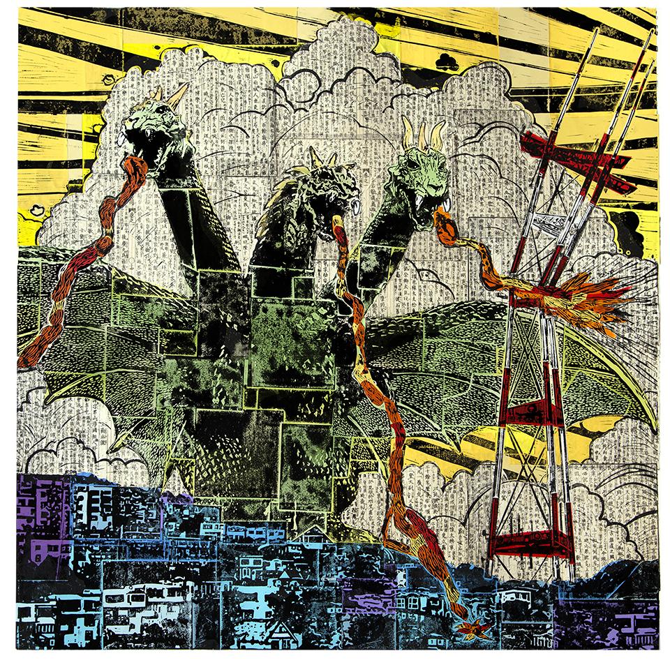 "King Gidorrah  36"" x 36"", chine-collé linocut print, 2013"