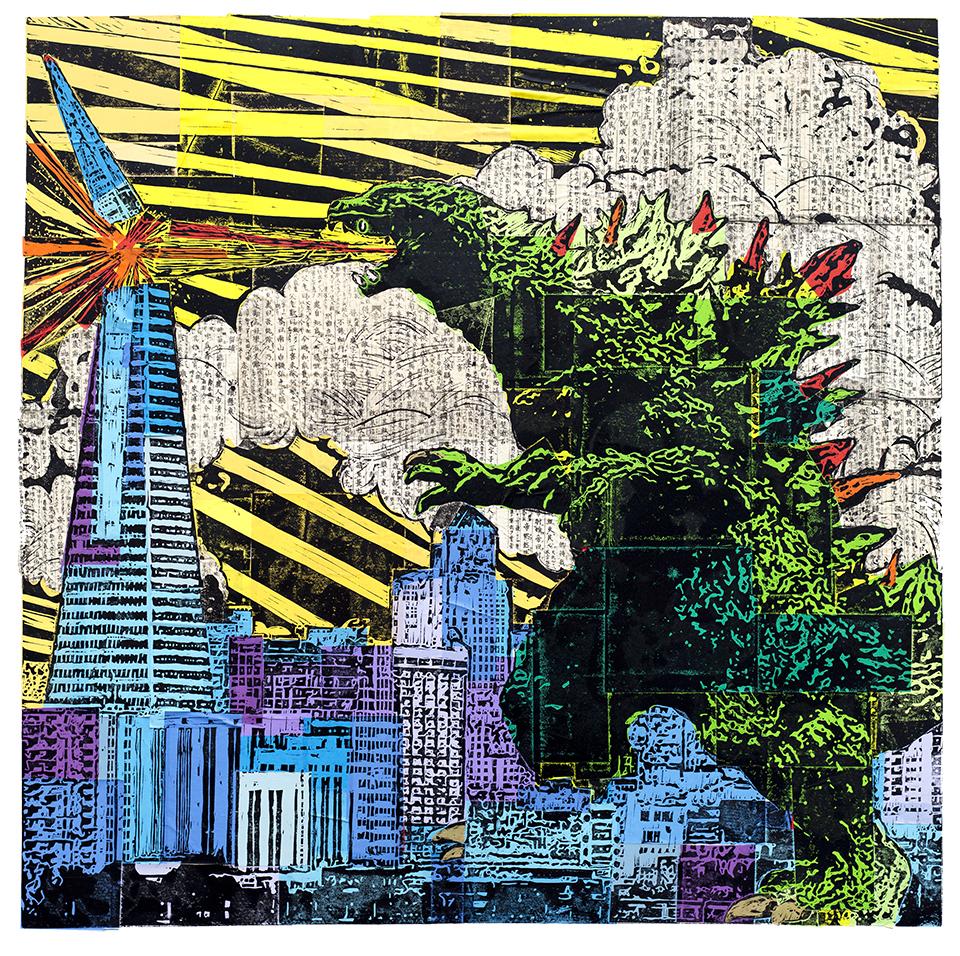 "Godzilla  36"" x 36"", chine-collé linocut print, 2012"