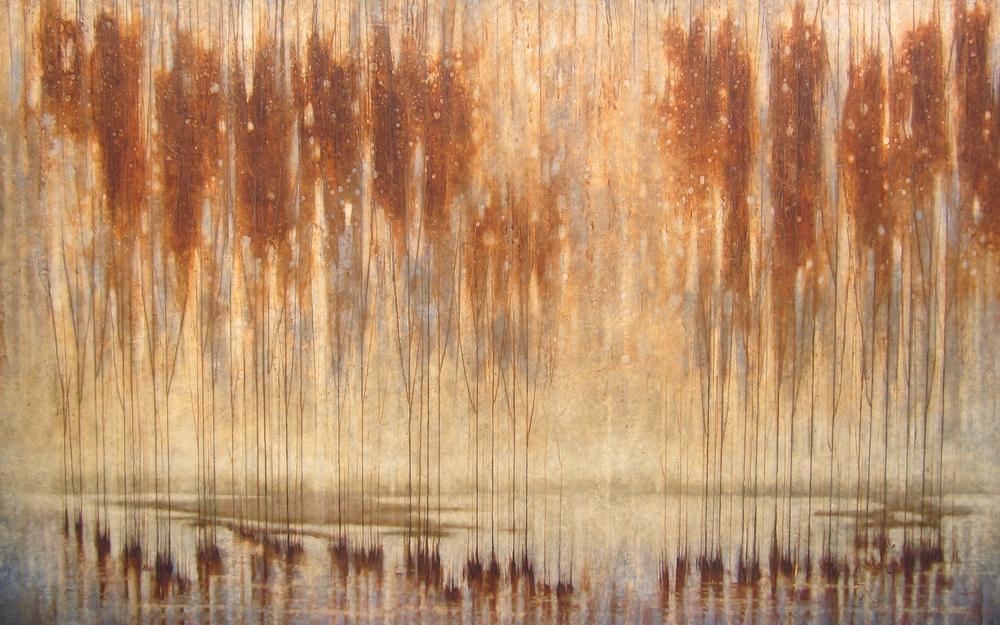 "Copper Canopy  42"" x 68"", encaustic,2015"