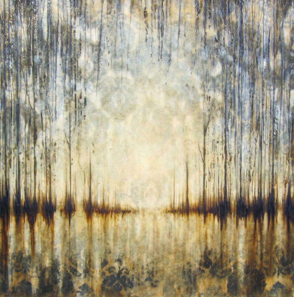 "Reflections  30"" x 30"", encaustic,2015"