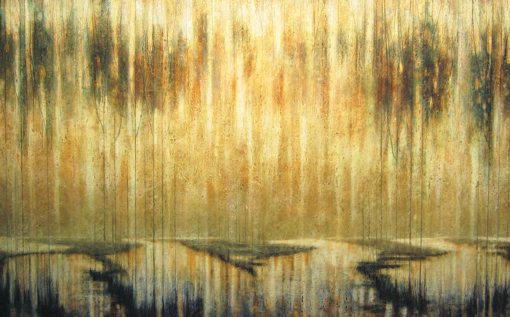 """Yangtze Daybreak  42"""" x 68"""", encaustic, 2015"""