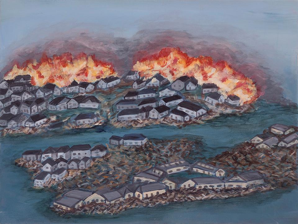 "Tsunami, Japan II  18"" x 24"", acrylic on canvas, 2013"