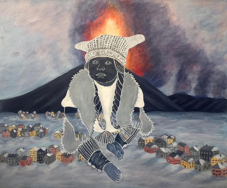 "Viking Baby  20"" x 24"", acrylic on canvas, 2015"