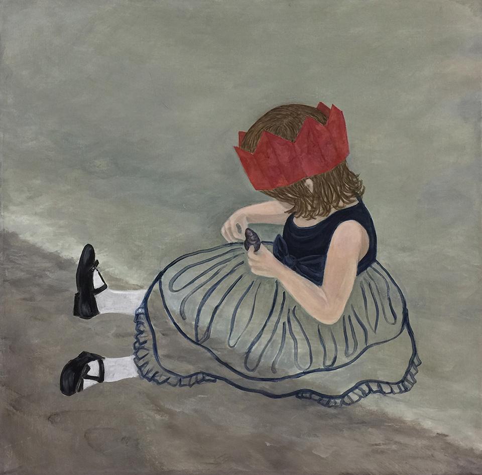 """Gigi on the Beach  20"""" x 20"""", acrylic on canvas, 2016"""