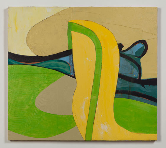 """GreenLine  32"""" x 36"""", acrylic on board, 2014"""