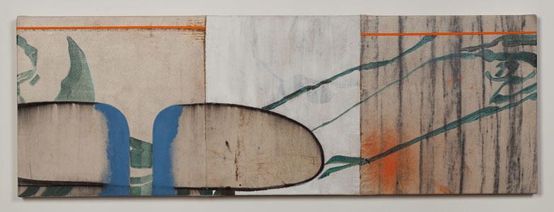 "OrangeStripe  20"" x 58"", acrylic on canvas, 2014"