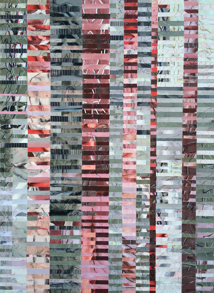 """Facade  64"""" x 47"""", mixed drawing media on painted watercolor paper, mounted on wood panel, 2015"""