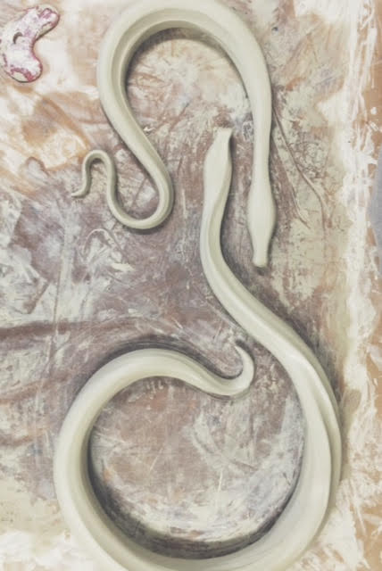 Snakes on a Table  (in progress) porcelain, 2016