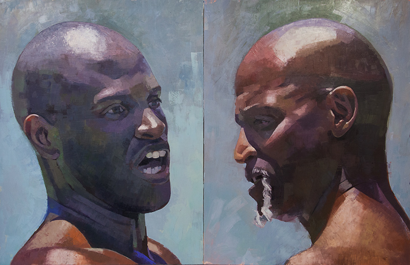 """Sparring  (diptych) 46""""x 72"""", oil on panel, 2015"""
