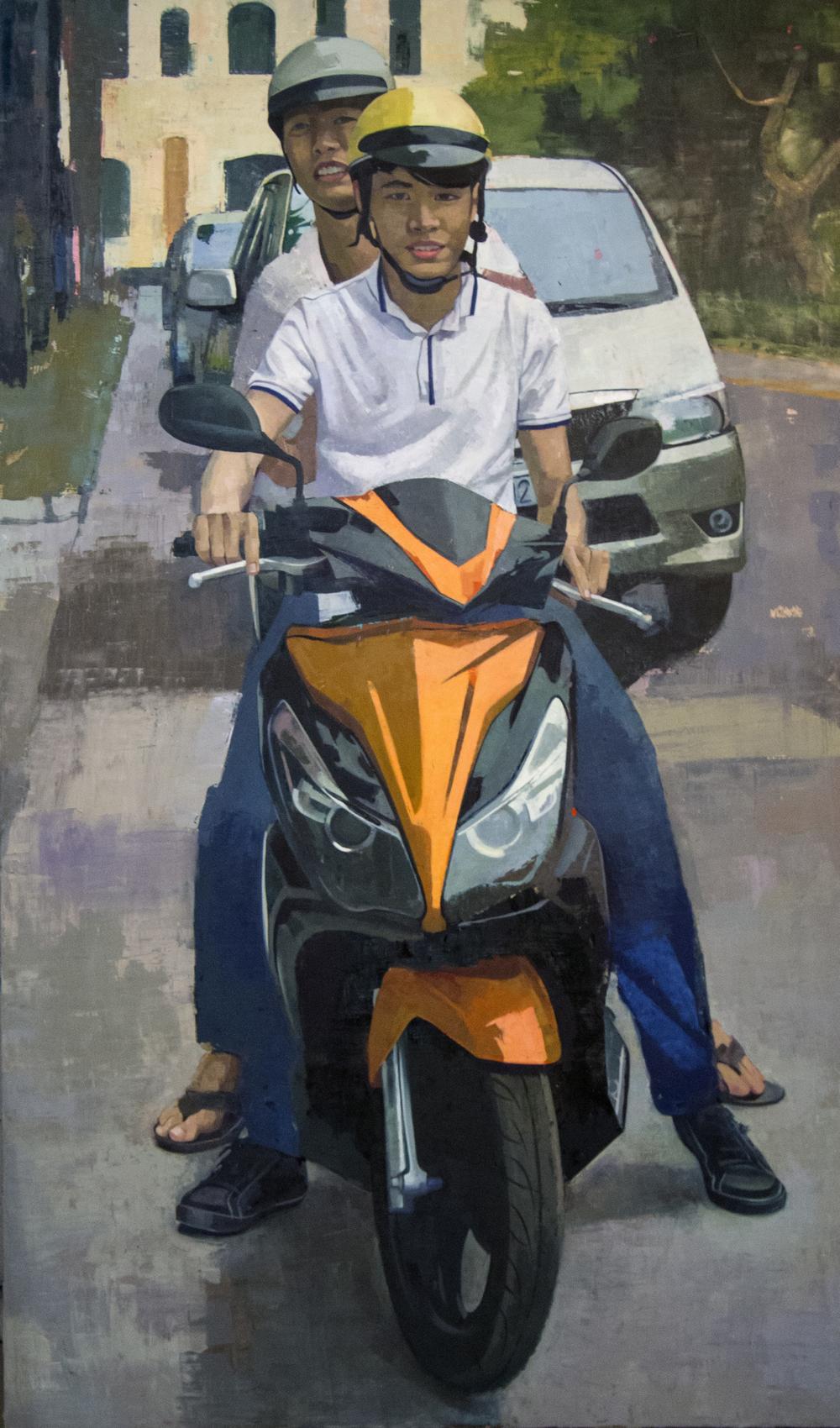 "Saigon Motorbike  70""x 42"", oil on panel, 2016"