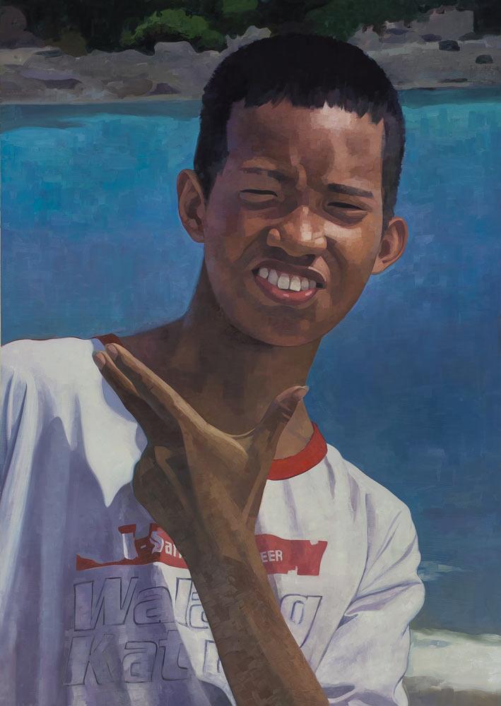 """Boy, Puerto Galera  68""""x 48"""", oil on panel, 2015"""