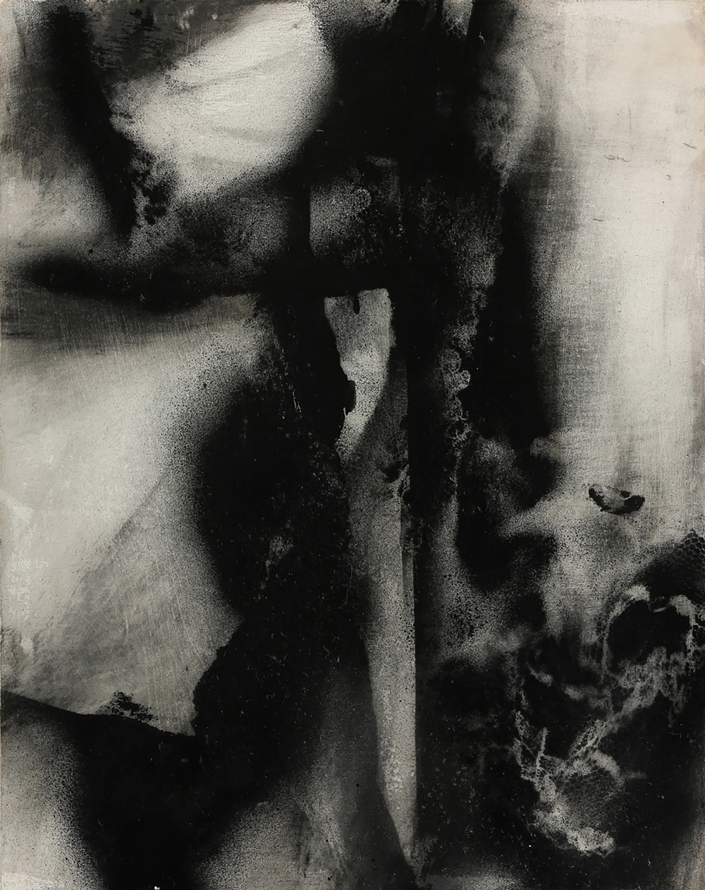 """Untitled_3  18"""" x 24"""", charcoal, ink, and oil on wood panel,2014"""