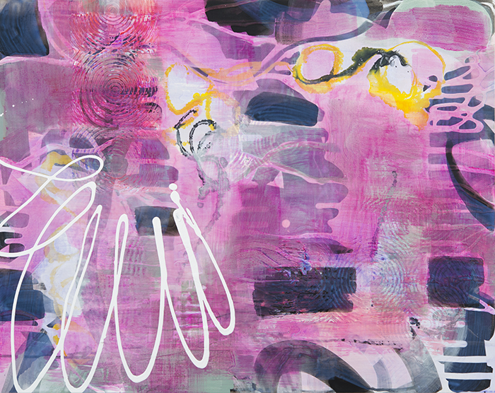 """Pink Veil  22""""x 28"""", ink and pigment dispersion in polymer on gesso board, 2015"""