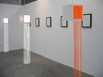 Untitled  acrylic, wood, string, and light bulbs, 2015