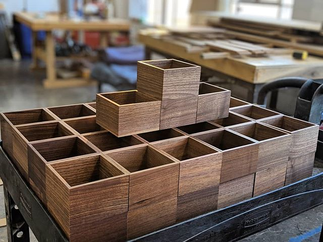 When you make 52 wooden boxes, the final step is to make a fort. . . . . #woodworking #woodwork #handmade #walnut #woodshop #boxes #miters