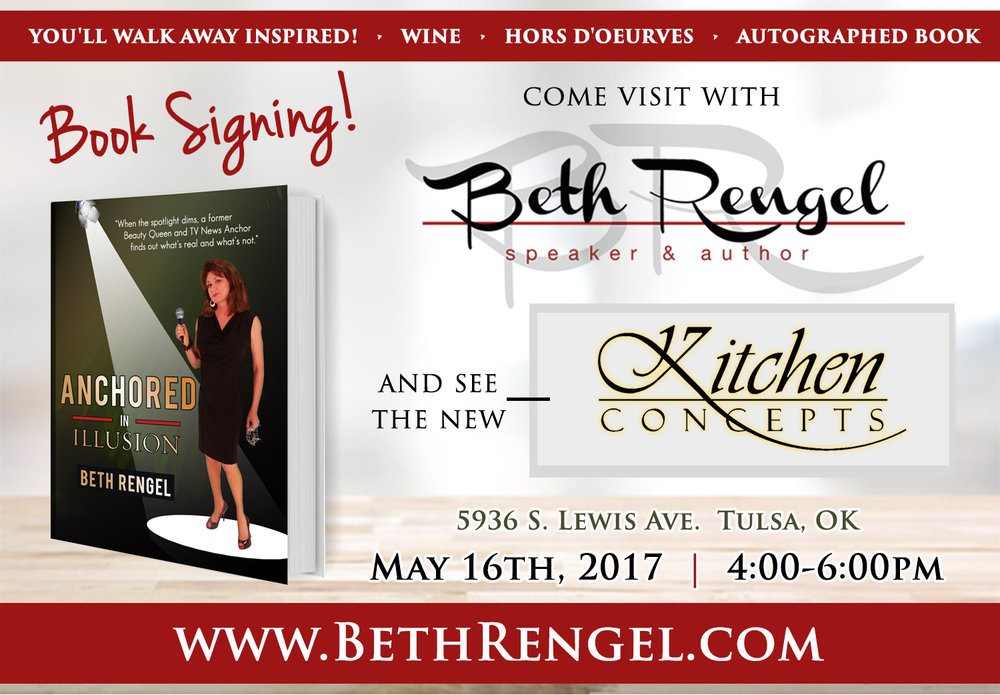 All are welcome! Come visit with me at the NEW Kitchen Concepts on May 16th from 4-6pm! We will have wine, hors d'oeuvres, and put an autographed book of Anchored in Illusion in your hands! Excited to share with you!