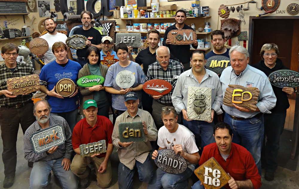 Workshop participants with their name plates