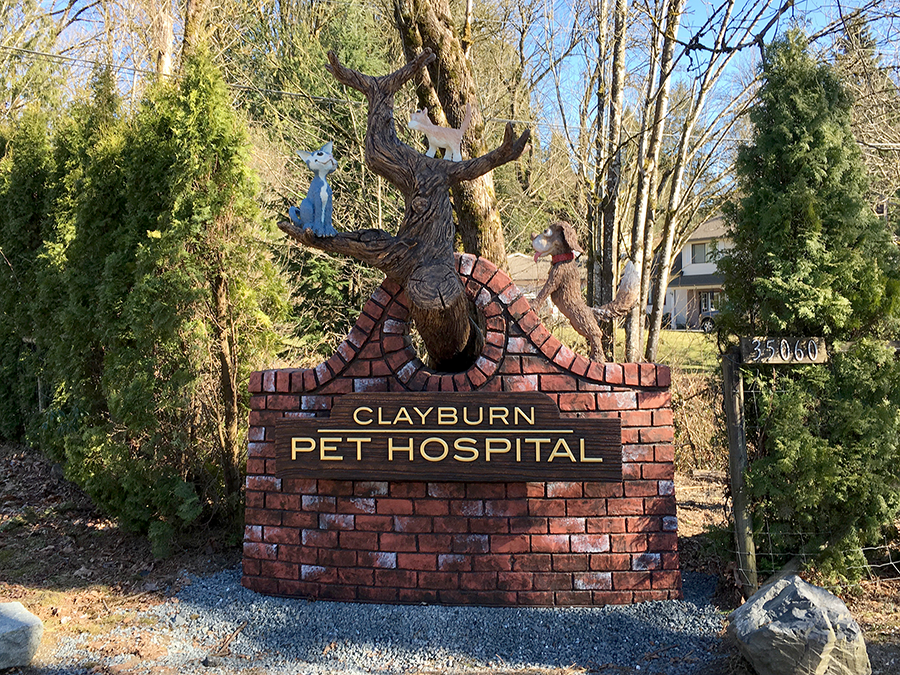 clayburn pet hospital sign installed.png
