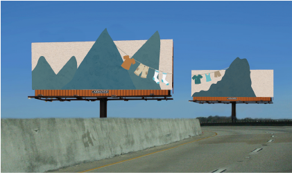 Double billboard spanning across either side of the road.