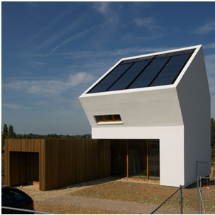 Bent to the sun is the first building to be built on the Real Life Learning Lab District of Tomorrow. It's aim is to combine work and living together to decrease the CO2-emission of mobile transport. The house is passive and 0-energy