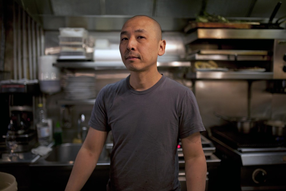 Chef Katsuaki Okiyama in his kitchen, Abri, Paris.
