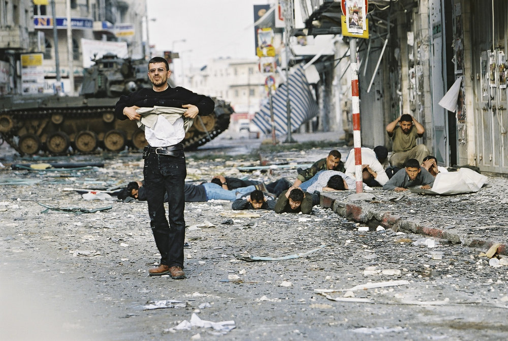 "Operation ""Defensive Shield"", Palestinian civilans and armed forces surrender after IDF forces incursion, Ramallah, 2002."