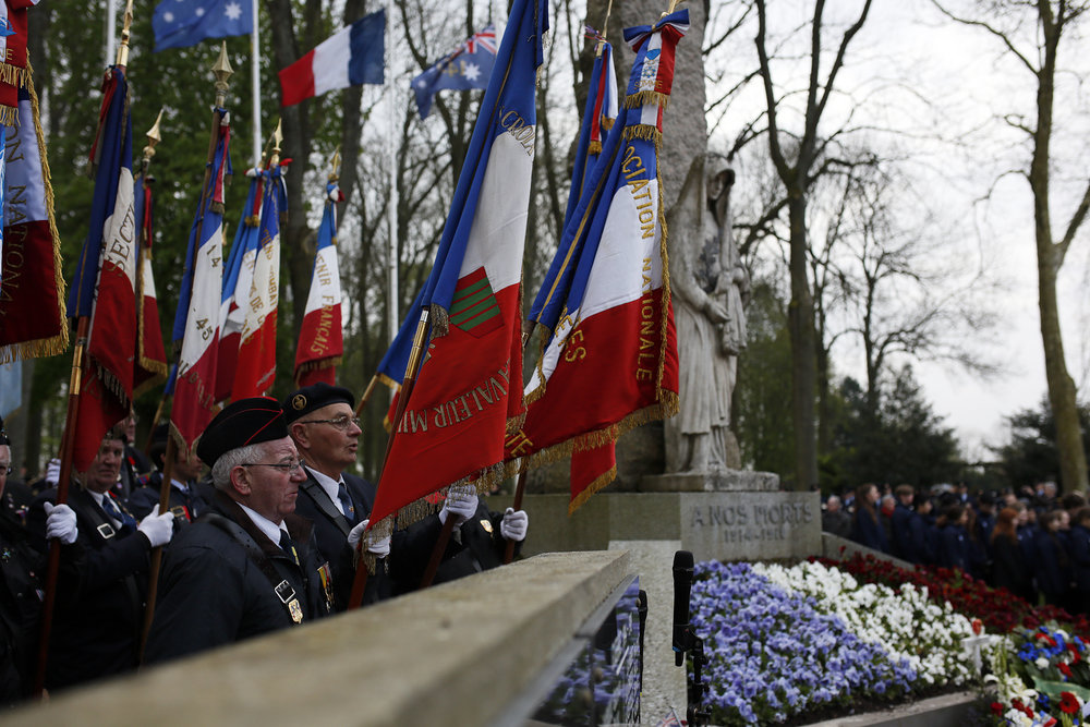 Villers-Bretonneux town service. French World War II Veterans