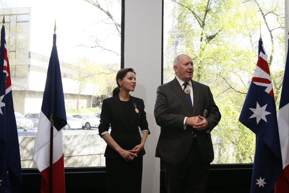 Ceremony Honoring Australian Citizen, Australian Embassy, Paris. Tina Arena And Governor-General Peter Cosgrove