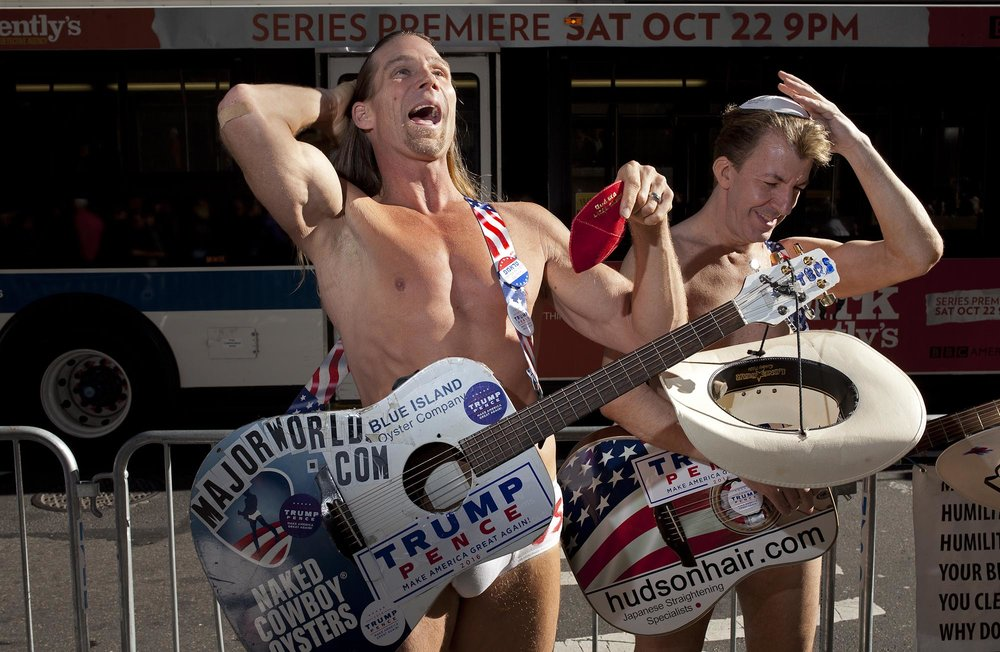 "08.11.16: ""Naked Cowboys For Trump"", 5th Avenue, New York."