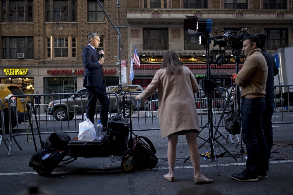 11.08.16: CNN's Jim Acosta Reporting From Trump's Last Presidential Meeting in Midtown Manhattan.