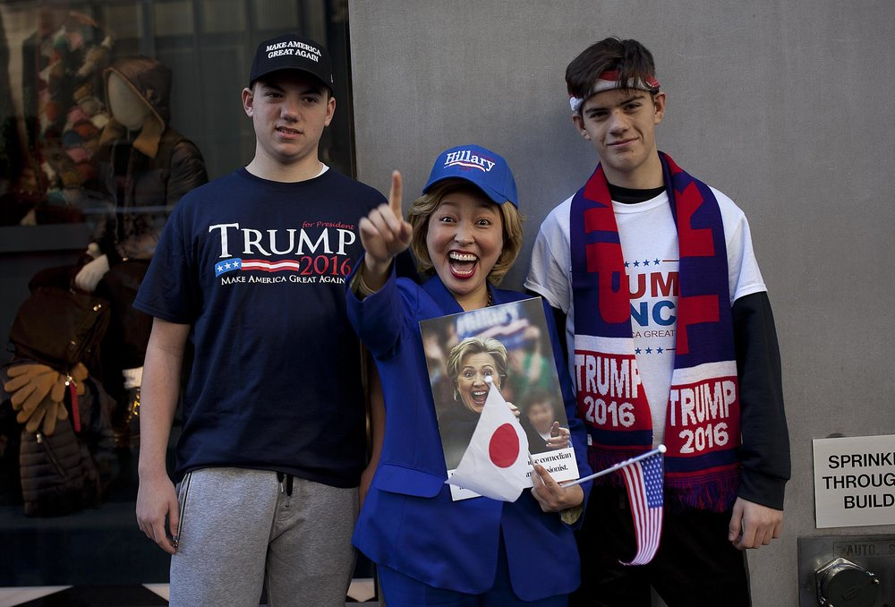 11.08.2016: Hillary Clinton lookalike From Japan Surrounded By Trump Supporters, 5th Avenue.