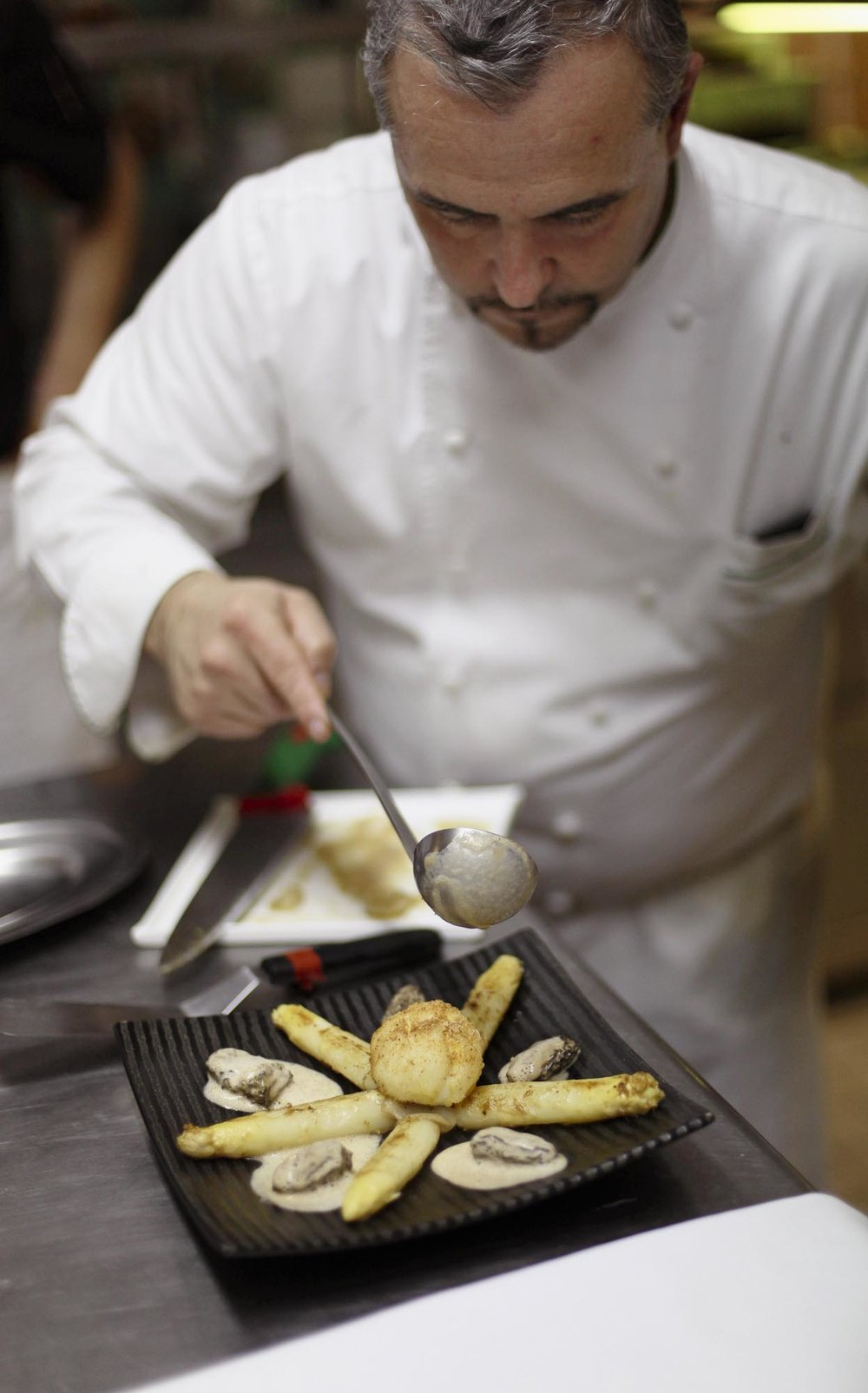 Deep-fried Breaded Egg, White Asparagus and Fresh Morels. Chef Jean Cousseau's sous-chef.
