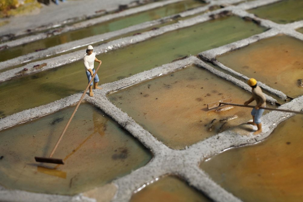 Salt Fields Museum, a miniature model showing the ancient method of salt harvesting (which is still the same used nowadays), Loix