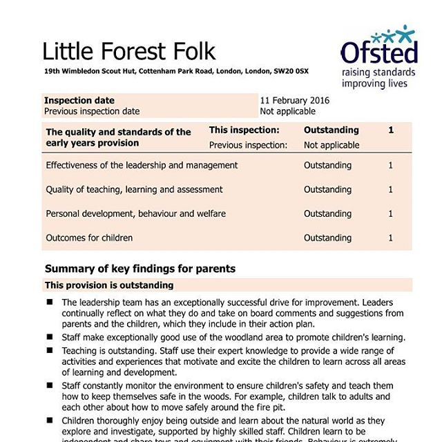 LIttle Forest Folk Wimbledon Ofsted Outstanding