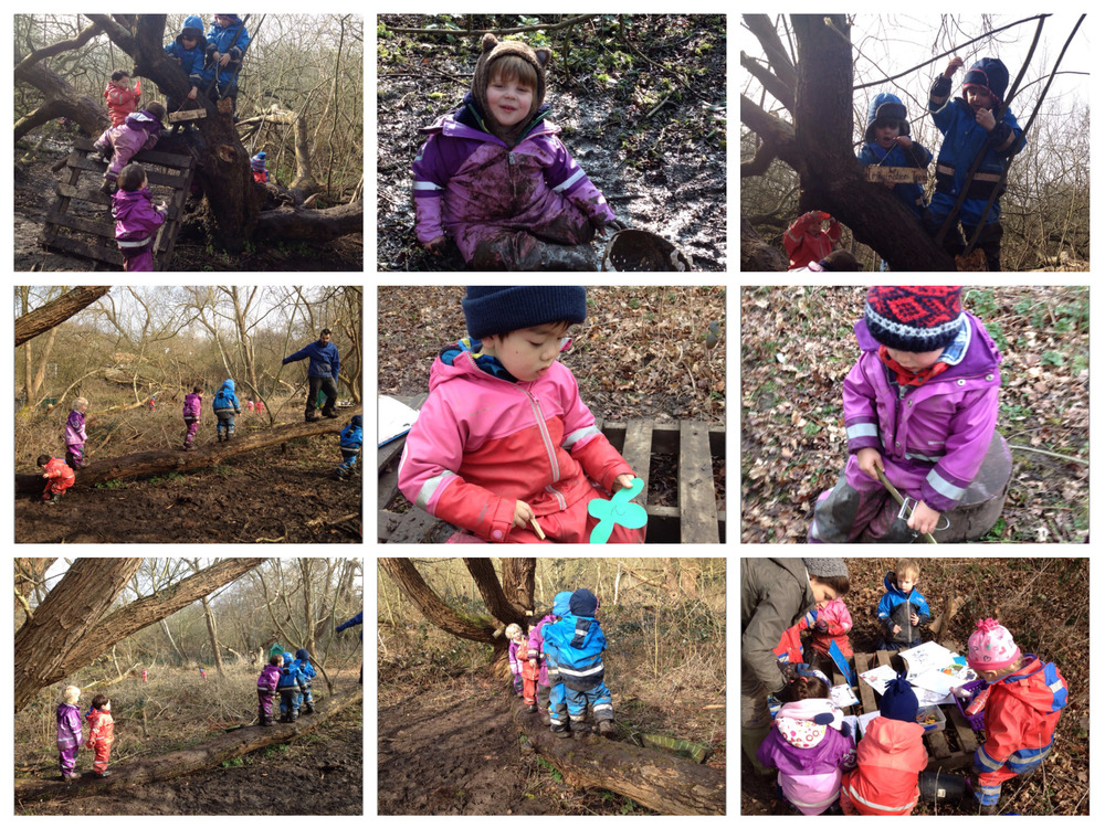Whittling sticks in the forest